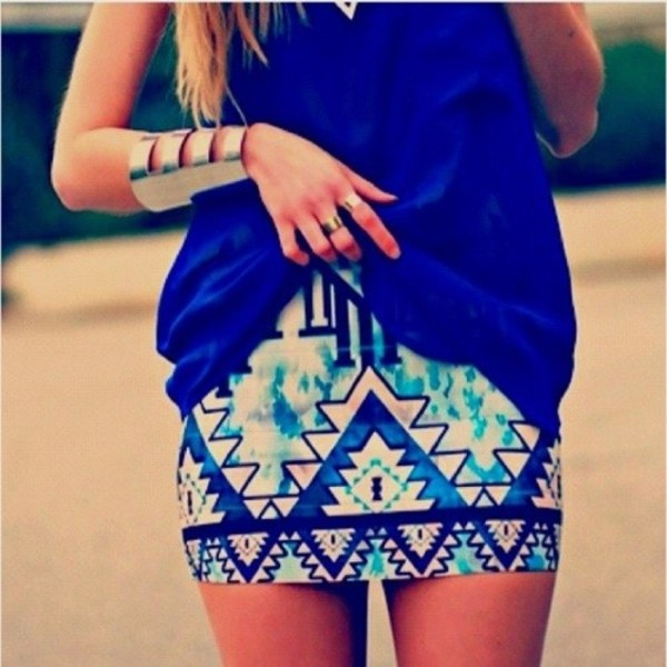 skirt blue tribal skirt aqua cobalt pretty summer blouse jewels aztec tribal pattern aztec skirt shirt jewelry gold cuff bracelet sequins tribal pattern blue skirt royal blue aztec print skirt clothes