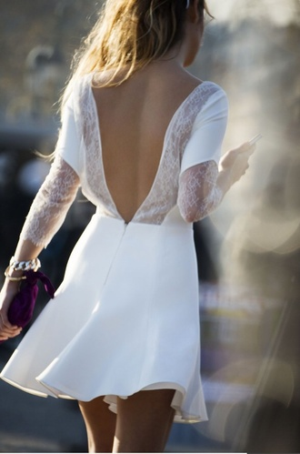 white lace dress wedding clothes backless dress