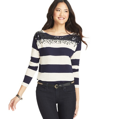 Sequin Neck Stripe Top | Loft