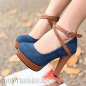 shoes,high heels,brown blue high heels,blue heels,brown heels,navy,suede,platform high heels,heels,cute,brand,brown and blue suede heels,vintage heels,brown,vintage,blue,dark blue,two strings