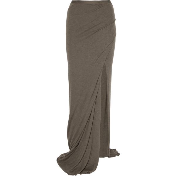 Rick Owens Lilies Split jersey maxi skirt - Polyvore