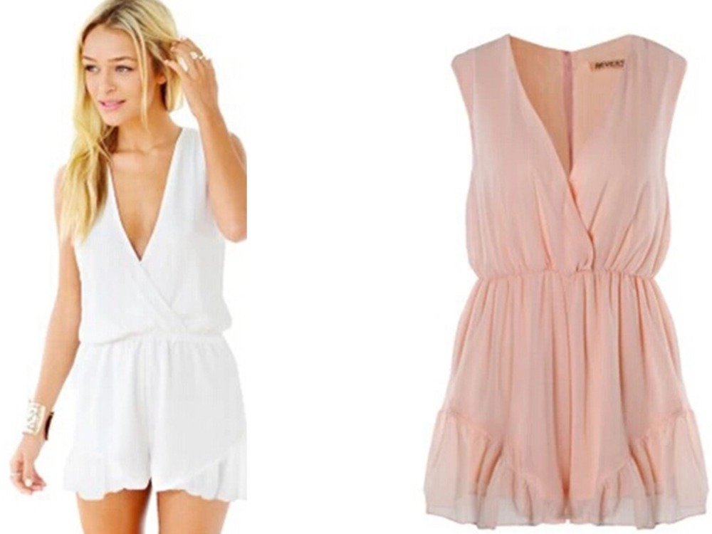 Fashion women V neck chiffon play suit Jumpsuits ladies sexy one piece rompers overalls Jumpsuits B699-in Jumpsuits & Rompers from Apparel & Accessories on Aliexpress.com