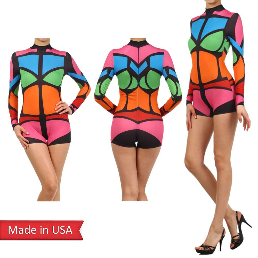 Multi colorblock fitted mock turtleneck short pants bodysuit romper jumper usa