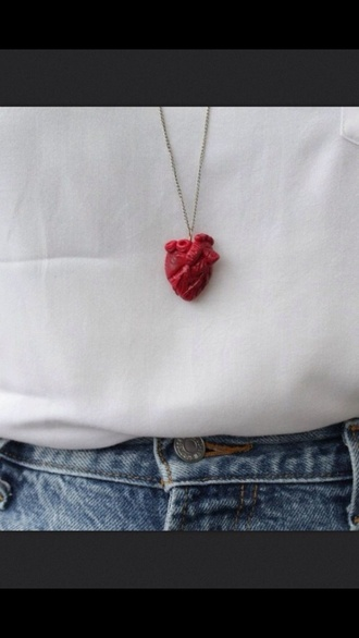 jewels heart necklace bloody jewelry tumblr necklace