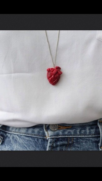 jewels tumblr jewelry heart necklace bloody
