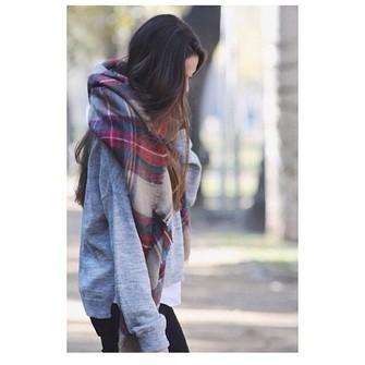 white plaid scarf red