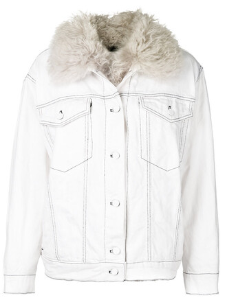 jacket shearling jacket denim fur women white cotton