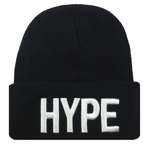 New hype 3d embroidery beanie skull cap hip hop hat black