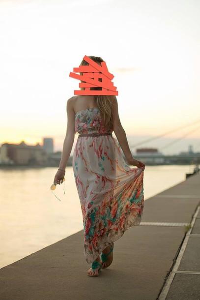 dress clothes maxi dress flowers hippie