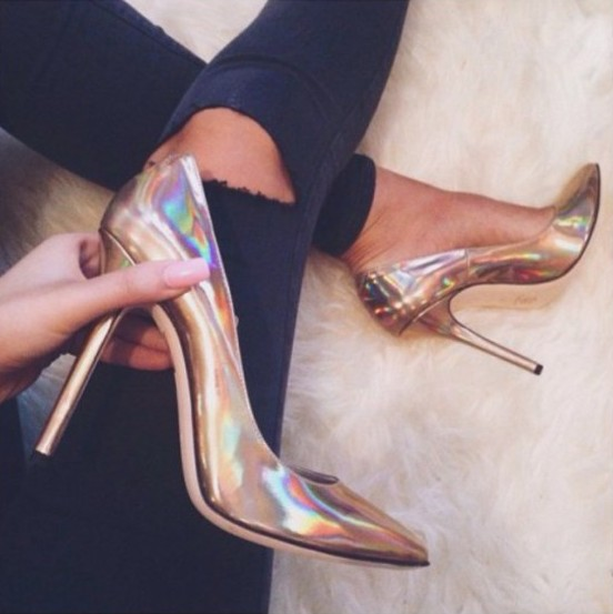 Gold silver hologram high heels · fashion struck · online store powered by storenvy