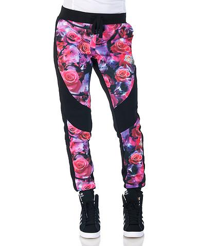 Rose print fleece jogger pant