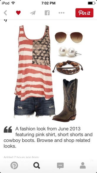 tank top american flag shirt american flag shorts american flag tank top cute top fashion style pretty sunglasses boots white crop tops crop tops