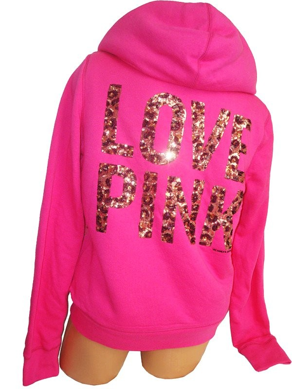 Victorias Secret Fashion Show Love Pink Sequin Bling Velour Hoodie Top