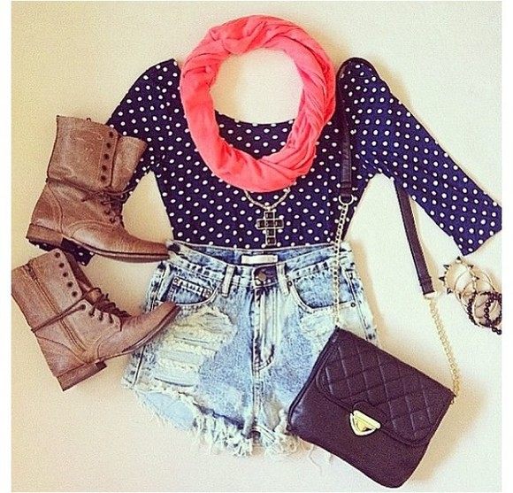 shorts shirt scarf summer outfits ripped shorts polka dots long sleeve shirt infinity scarf boots combat boots black purse tumblr cross necklace jewels highwaisted denim shorts shoes bag