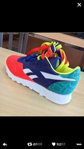 shoes,Reebok,multicolor,sneakers,colorful,dope,pink,turquoise,nylon,colorblock,green,blue,red,colorful sneakers,low top sneakers,neon,yellow,orange,classic leather snake print  reebok