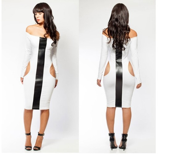 Women Black White Cocktail Evening Club Party Bandage Bodycon ...