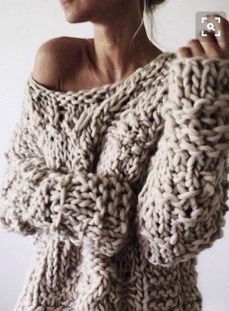 sweater chunky knit boat neck oatmeal pullover crochet cable knit pullover sweater