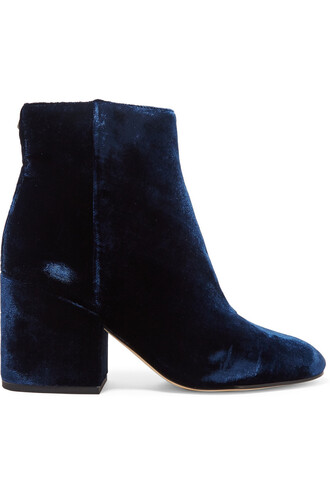 boots ankle boots velvet navy shoes
