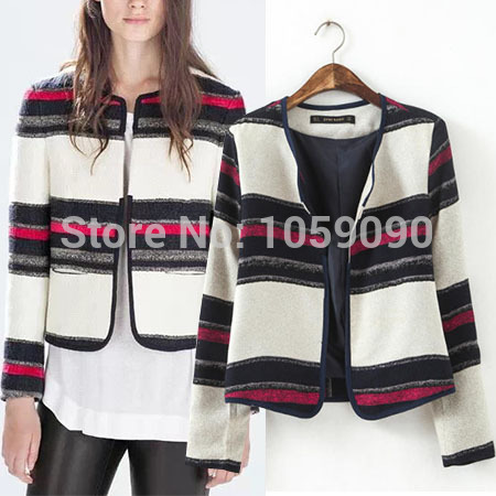 Aliexpress.com : Buy 2014 ZA Fashion Women NEW Autumn And Winter Retro Striped Round Neck Long Sleeve Casual Short Blazer Jacket Contrast Color Coat from Reliable jacket color suppliers on Vogue Official Online Shop