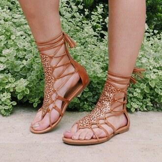 shoes sandals tan brown embellished summer spring ootn love gojane