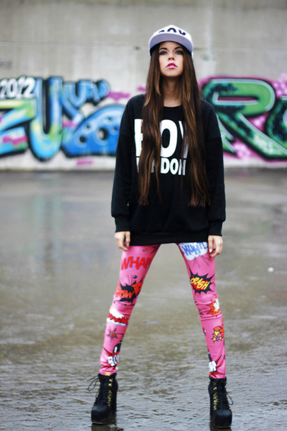 Pants: hoodies, hat, swag, girl, tag, leggings, sweater ...