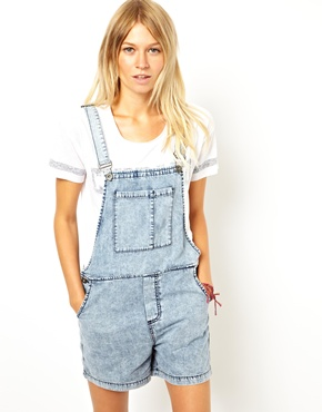 ASOS | ASOS Denim Dungaree Shorts in Vintage Wash at ASOS