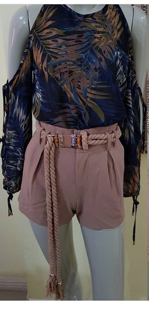 shorts dusty pink rope High waisted shorts