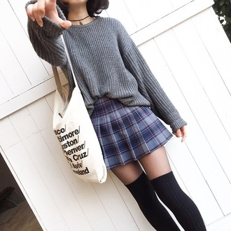 sweater pullover jumper grey soft skirt plaid skirt american apparel high waisted skirt soft grunge outfit cardigan grey sweater korean fashion japanese sweater japanese shirts asian flannel flannel skrirt shirt knitwear cute socks hair accessory bag knee high socks tartan skirt top