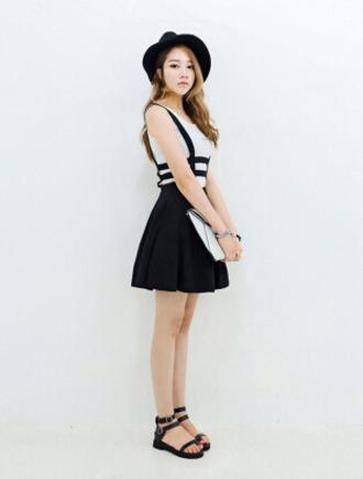 dress hat monochrome casual grunge skirt black dress