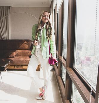 my blonde gal blogger jacket bag blouse jewels shoes sunglasses