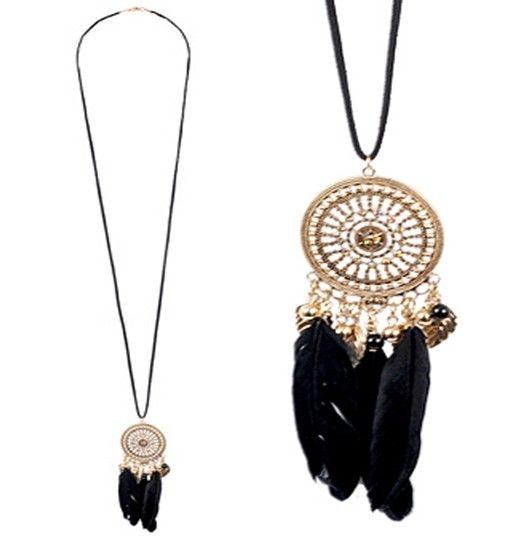 New Forever 21 Dream Catcher Black Feather Filigree Pendant Rhinestone Necklace | eBay