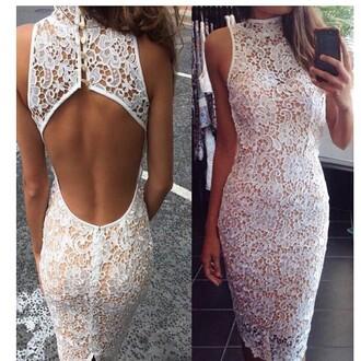 dress lace dress white dress lace white dress backless dress