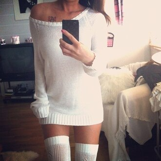 sweater white one shoulder shoes shirt white long sweater dress high socks knitted sweater oversized knit sweater