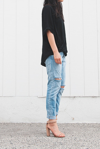jeans boyfriend jeans t-shirt shoes