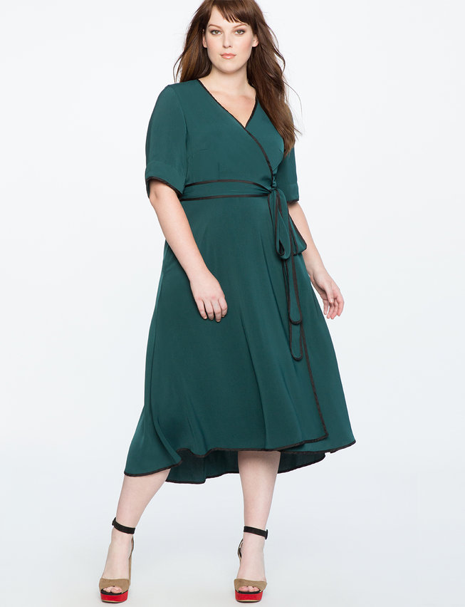 fb8c7364c0f True Wrap Dress with Piping Detail