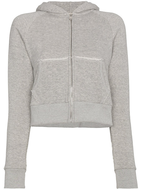 Simon Miller hoody cropped zip women cotton grey sweater