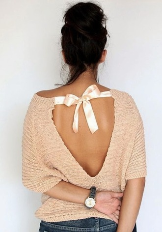 sweater rose elegant t-shirt open back classy pullover jumper backless openback top ribbon backless sweater fine knit jumper