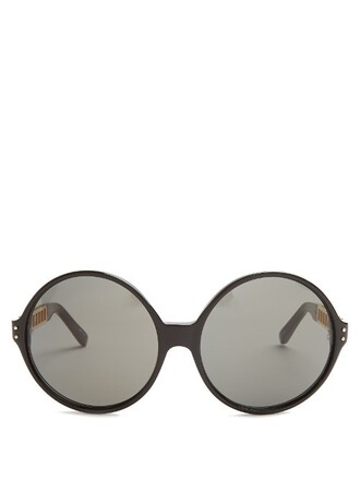 oversized caged sunglasses gold black