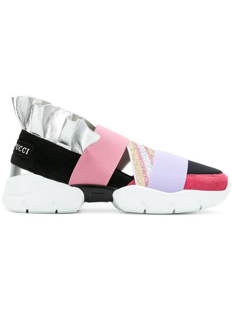 Emilio Pucci metallic ruffle women sneakers leather purple pink shoes