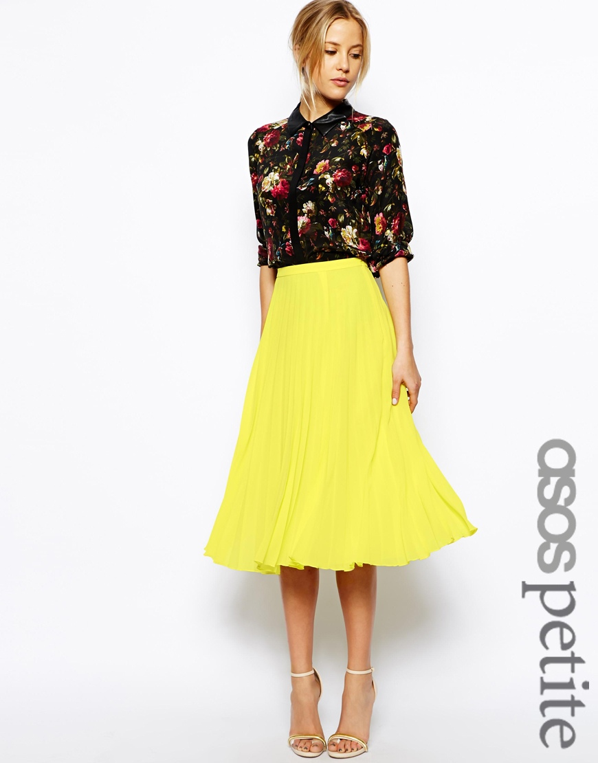 ASOS PETITE Midi Pleated Skirt at asos.com