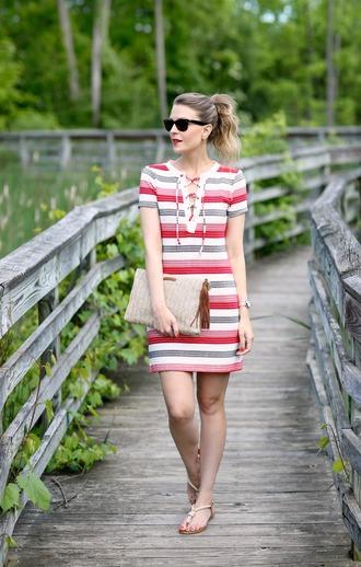 pennypincherfashion blogger top shorts bag shoes jewels mini dress summer outfits clutch flats summer dress