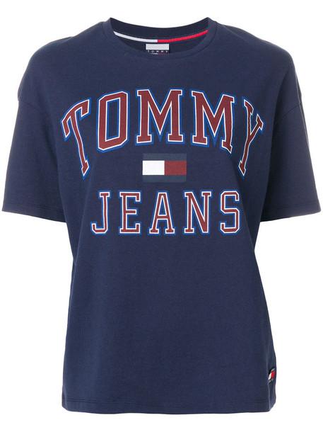 Tommy Jeans - logo print T-shirt - women - Cotton - M, Blue, Cotton