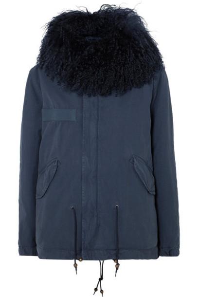 parka cotton blue coat