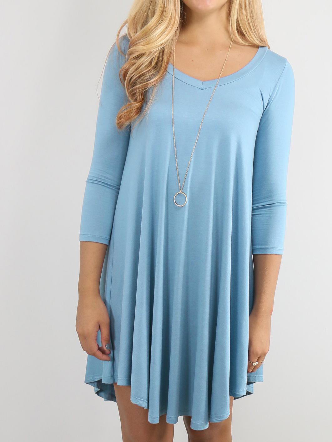 547035d7a2fe34 Blue V-Neck Long Sleeve Tshirt Dress -SheIn(Sheinside)