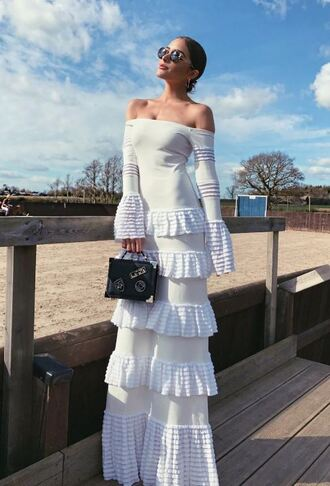 dress off the shoulder maxi dress white white dress olivia culpo instagram off the shoulder dress