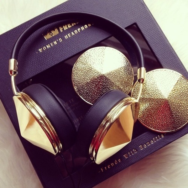 technology gold headphones dope wishlist jewels earphones