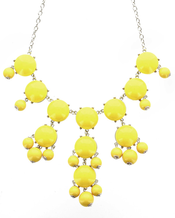 jewels betsy boo's boutique yellow silver fun jewelry bubble necklace summer free shipping jewelry