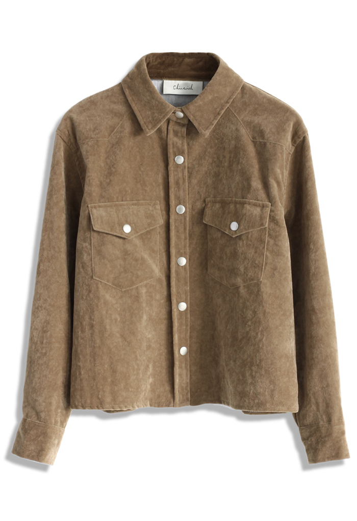 Adore faux suede jacket in camel