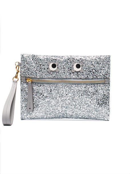 glitter eyes women embellished pouch grey metallic bag