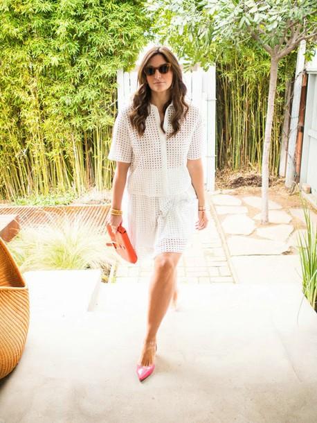fashion foie gras blogger mesh white skirt white shirt pointed toe skirt shirt sunglasses shoes bag jewels
